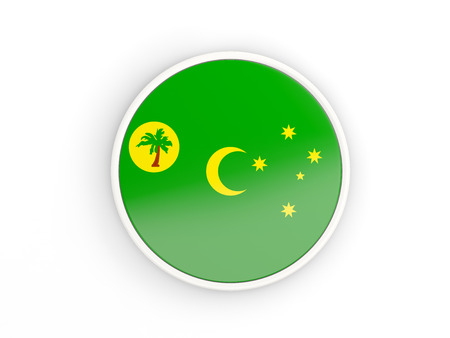 Flag of cocos islands. Round icon with white frame.3D illustration