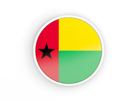 guinea bissau: Flag of guinea bissau. Round icon with white frame.3D illustration