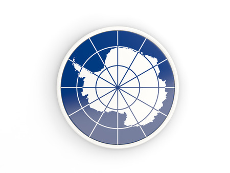 antarctica: Flag of antarctica. Round icon with white frame.3D illustration