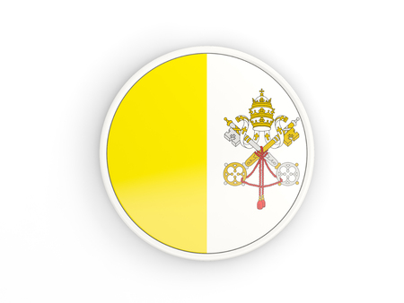 vatican city: Flag of vatican city. Round icon with white frame.3D illustration
