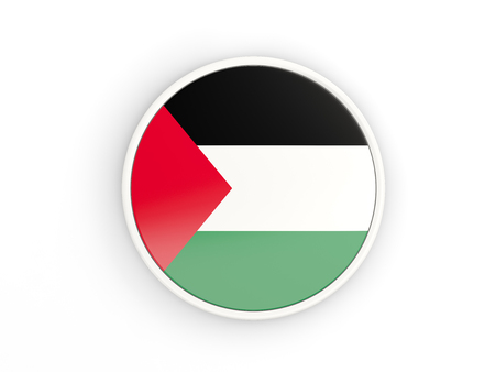 palestinian: Flag of palestinian territory. Round icon with white frame.3D illustration