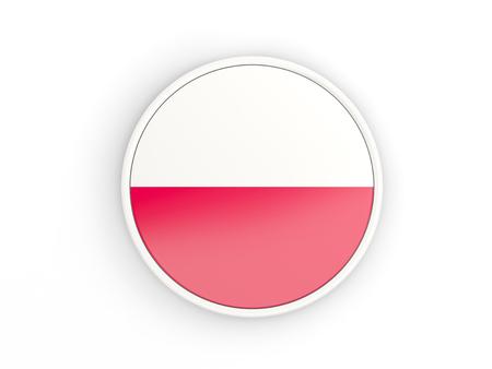 Flag Of Poland. Round Icon With White Frame.3D Illustration Stock ...