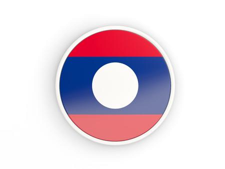 laos: Flag of laos. Round icon with white frame.3D illustration Stock Photo