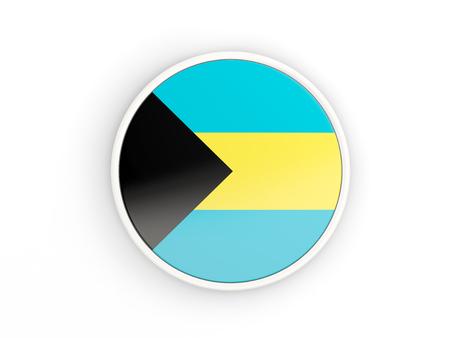 bahamas: Flag of bahamas. Round icon with white frame.3D illustration Stock Photo