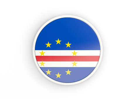 verde: Flag of cape verde. Round icon with white frame.3D illustration Stock Photo