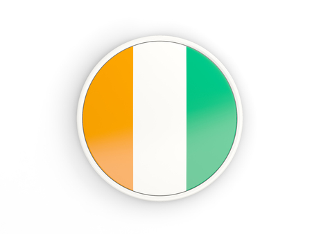 cote ivoire: Flag of cote d Ivoire. Round icon with white frame.3D illustration