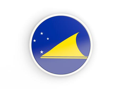 tokelau: Flag of tokelau. Round icon with white frame.3D illustration