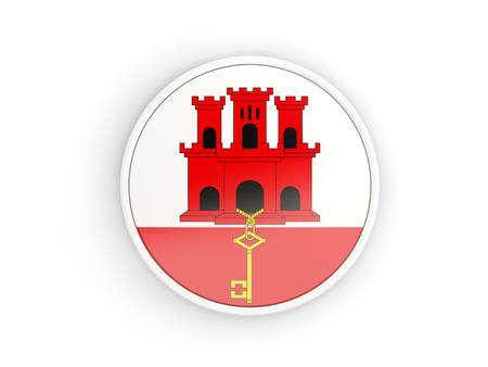 Flag of gibraltar. Round icon with white frame.3D illustration