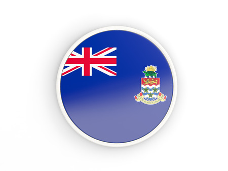 cayman islands: Flag of cayman islands. Round icon with white frame.3D illustration
