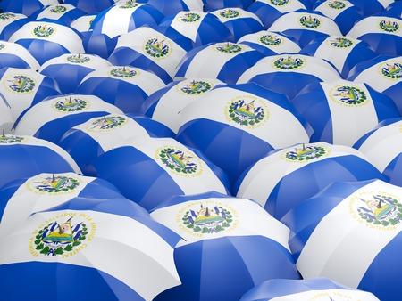 bandera de el salvador: Bandera de El Salvador en el paraguas. ilustración 3D Foto de archivo