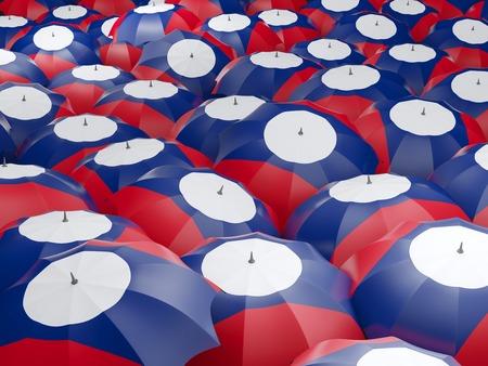 Flag of laos on umbrella. 3D illustration