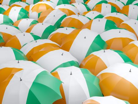 cote d ivoire: Flag of cote d Ivoire on umbrella. 3D illustration