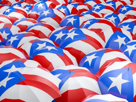 puerto: Flag of puerto rico on umbrella. 3D illustration