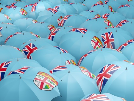 fiji: Flag of fiji on umbrella. 3D illustration