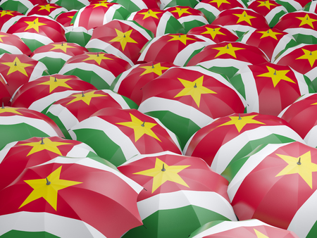 suriname: Flag of suriname on umbrella. 3D illustration