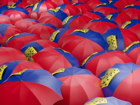 liechtenstein: Flag of liechtenstein on umbrella. 3D illustration Stock Photo