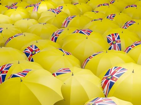 niue: Flag of niue on umbrella. 3D illustration Stock Photo