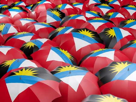 antigua: Flag of antigua and barbuda on umbrella. 3D illustration Stock Photo