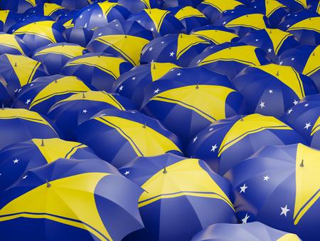 tokelau: Flag of tokelau on umbrella. 3D illustration