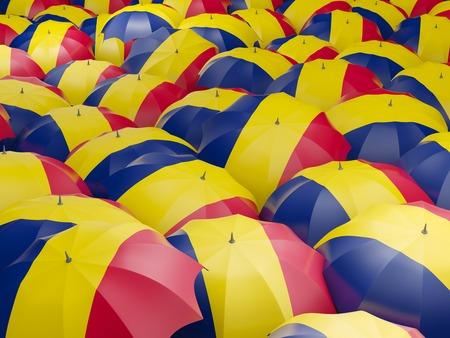chad: Flag of chad on umbrella. 3D illustration