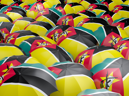 mozambique: Flag of mozambique on umbrella. 3D illustration