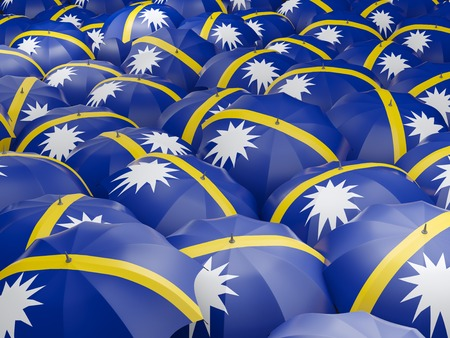 nauru: Flag of nauru on umbrella. 3D illustration