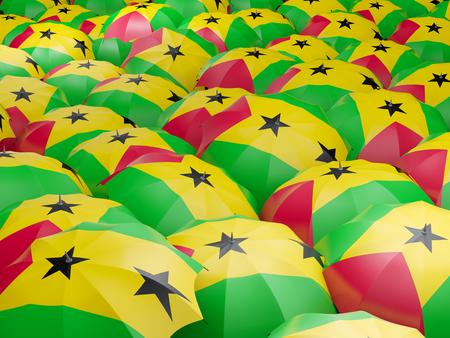 principe: Bandera de Santo Tomé y Príncipe en el paraguas. ilustración 3D