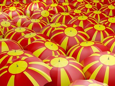 Flag of macedonia on umbrella. 3D illustration