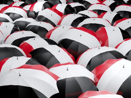 yemen: Flag of yemen on umbrella. 3D illustration Stock Photo