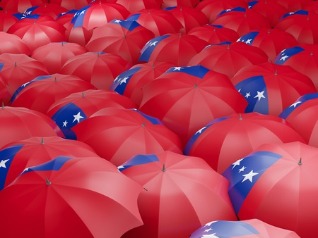 samoa: Flag of samoa on umbrella. 3D illustration