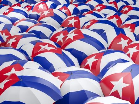 Bandera de Cuba en el paraguas. ilustración 3D