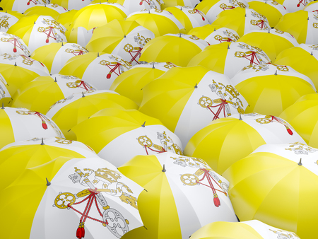 vatican city: Flag of vatican city on umbrella. 3D illustration Stock Photo