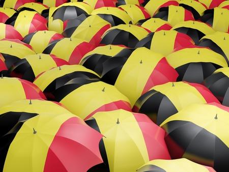 Flag of belgium on umbrella. 3D illustration