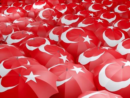 Flag of turkey on umbrella. 3D illustration