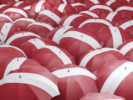 Flag of latvia on umbrella. 3D illustration Stock Photo