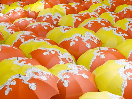 bhutan: Flag of bhutan on umbrella. 3D illustration Stock Photo