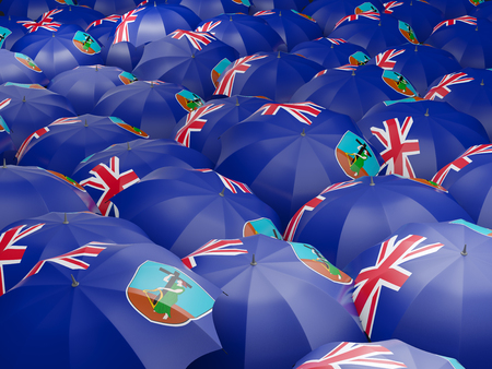 Flag of montserrat on umbrella. 3D illustration