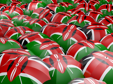 Flag of kenya on umbrella. 3D illustration