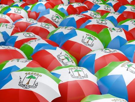 Flag of equatorial guinea on umbrella. 3D illustration