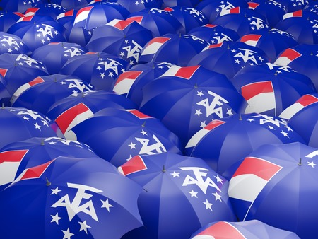 territories: Flag of french southern territories on umbrella. 3D illustration