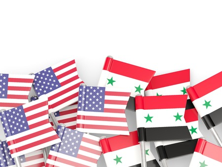 an ally: Flags of USA and Syria isolated on white. 3D illustration
