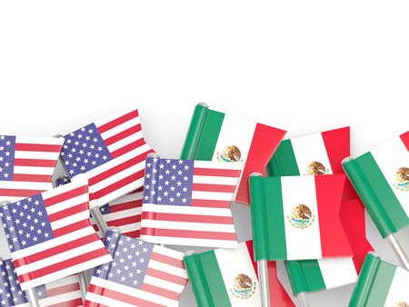 an ally: Flags of USA and Mexico  isolated on white. 3D illustration