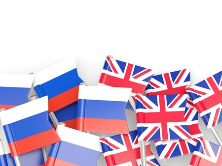 england politics: Flags of Russia and UK  isolated on white. 3D illustration Stock Photo