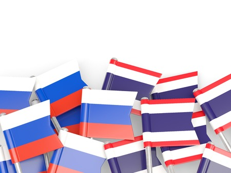 an ally: Flags of Russia and Thailand  isolated on white. 3D illustration Stock Photo