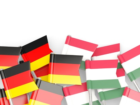 an ally: Flags of Germany and Hungary  isolated on white. 3D illustration Stock Photo