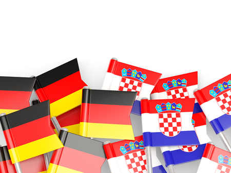 an ally: Flags of Germany and Croatia  isolated on white. 3D illustration Stock Photo