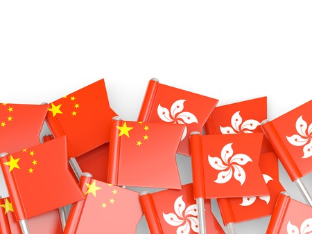 Flags of China and Hong Kong isolated on white. 3D illustration