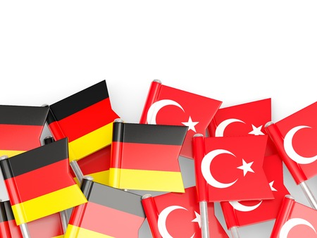 an ally: Flags of Germany and Turkey  isolated on white. 3D illustration