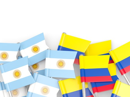an ally: Flags of Argentina and Colombia isolated on white. 3D illustration