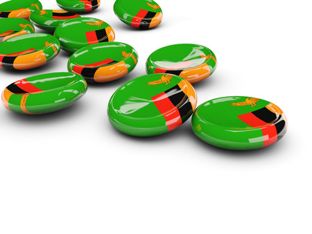zambia: Flag of zambia, round buttons on white. 3D illustration Stock Photo